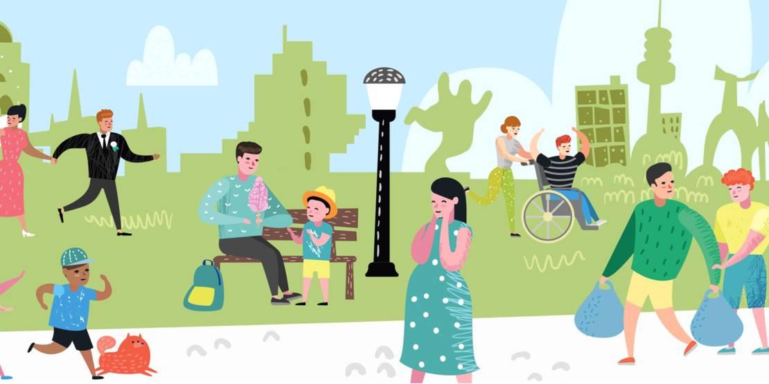 Die Grafik zeigt verschiedene Menschen bei Freizeittätigkeiten im Grünen vor der Stadtsilhouette von Hannover.