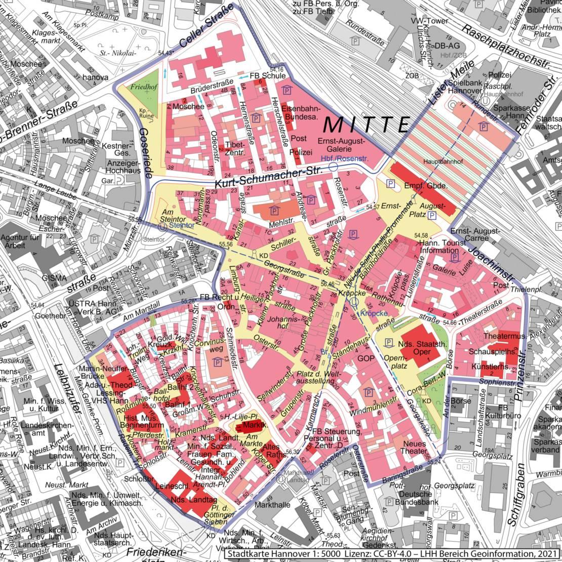 Karte der hannoverschen Innenstadt, der innere Teil ist farbig, außen rum ist sie in Graustufen gehalten