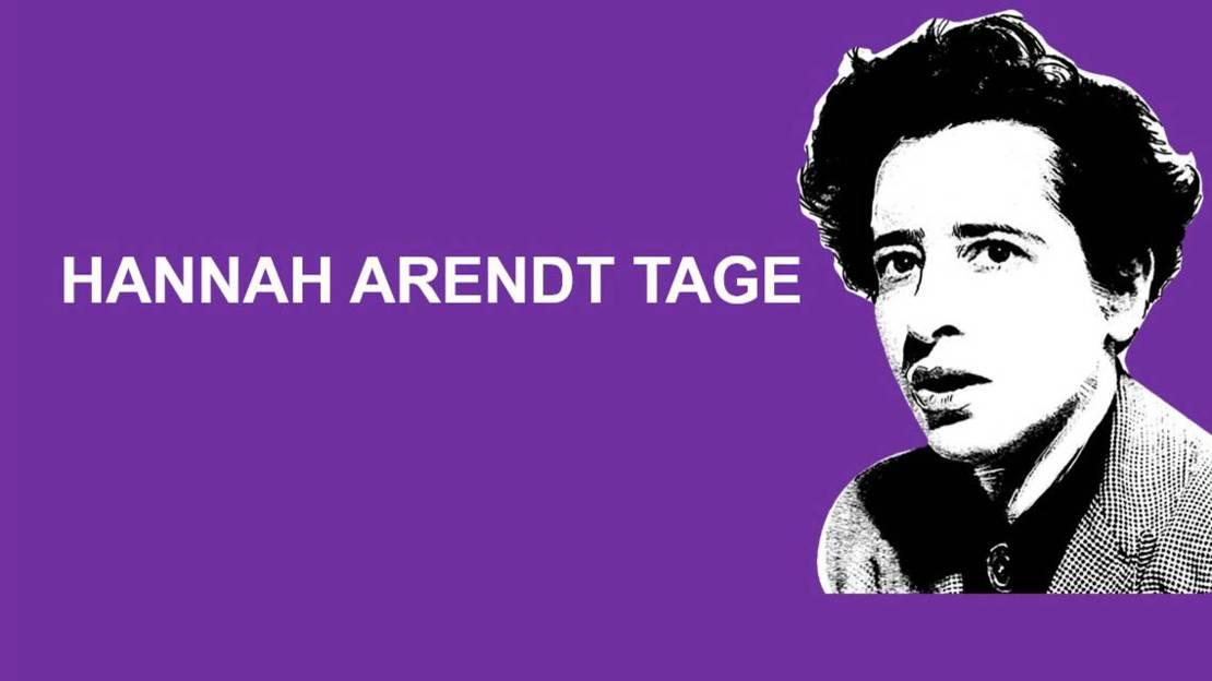 """Konterfei von Hannah Arendt auf lilafarbenem Hintergrund. Darauf steht """"Hannah Arendt Tage""""."""