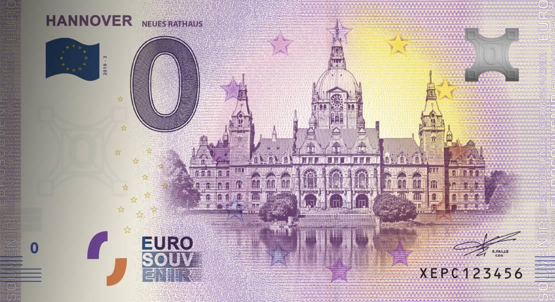 Null-Euro-Schein mit dem hannoverschem Rathaus