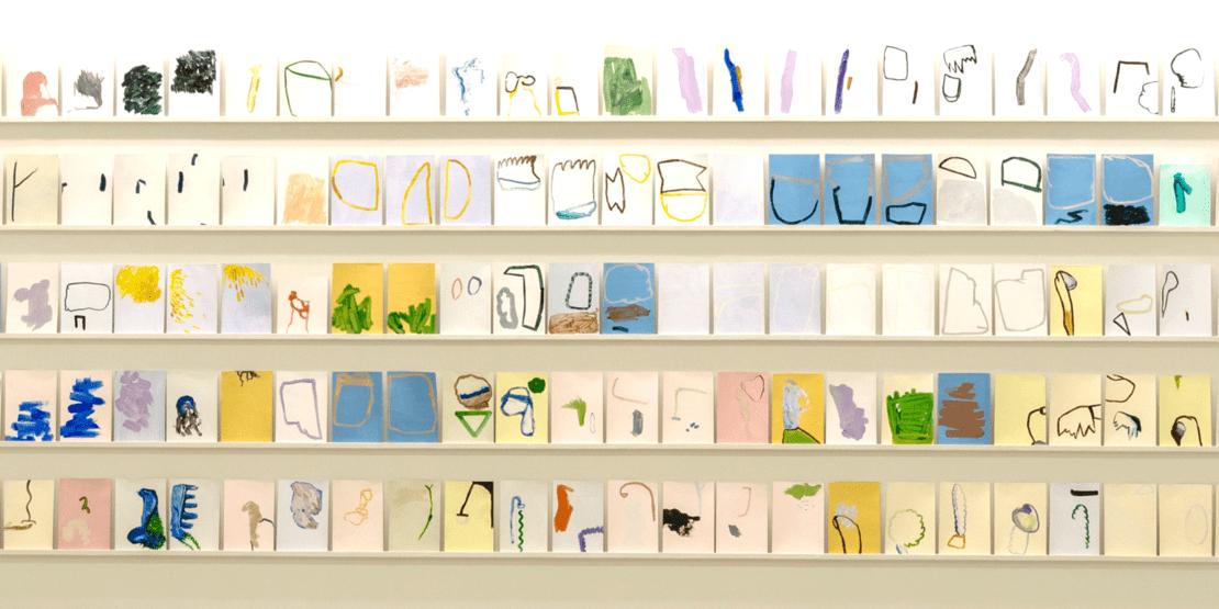 Constanze Böhm aus der Serie: Das emblematische Ensemble, 2018, Eitempera und Öl auf Papier, je 17,5 x 25 cm