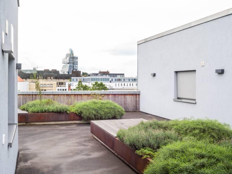 Eine Dachterrasse. Im Hintergrund die Stadt.