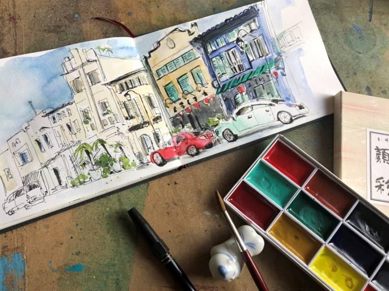 Urban Sketch durch Singapur