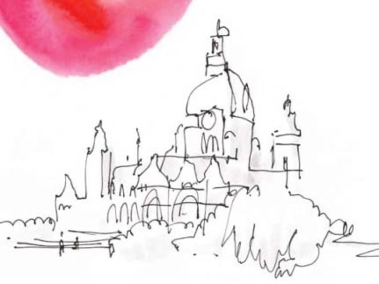 Das Neue Rathaus Hannover als Zeichnung. Überwiegend in weiß.