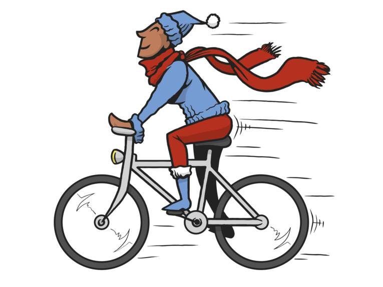 Eine bunte Zeichnung, die einen Mann auf einem Fahrrad zeigt.