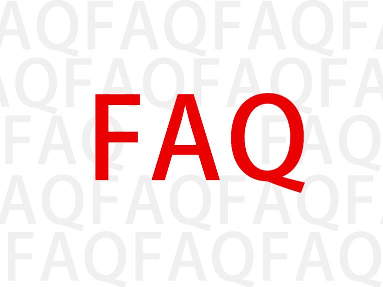 Der Begriff FAQ mehrfach nebeneinander, mittig in rot noch einmal größer