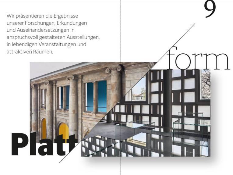 """Screenshot eines Dokuments. Dort steht unter anderem """"Plattform"""". Im Hintergrund sind Teile des Museums zu sehen."""