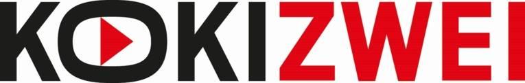 Das einzeilige KokiZwei-Logo ist ein Schriftzug mit schwarzen Buchstaben für Koki und roten Buchstaben für Zwei. Im in die Breite gezogenen O ist ein rotes Dreieck, das an das Playsymbol erinnert.