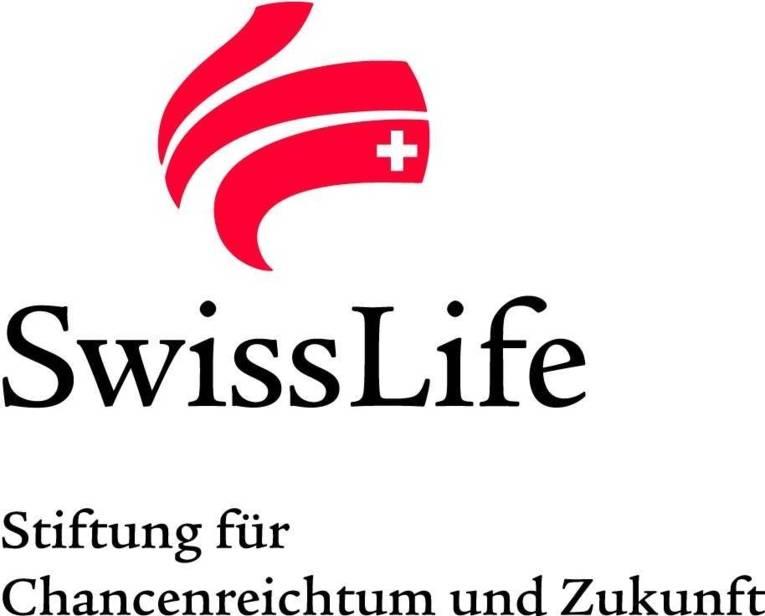 Logo mit drei roten Streifen und weißem Kreuz und der Schrift Swiss Life Stiftung für Chancenreichtum und Zukunft