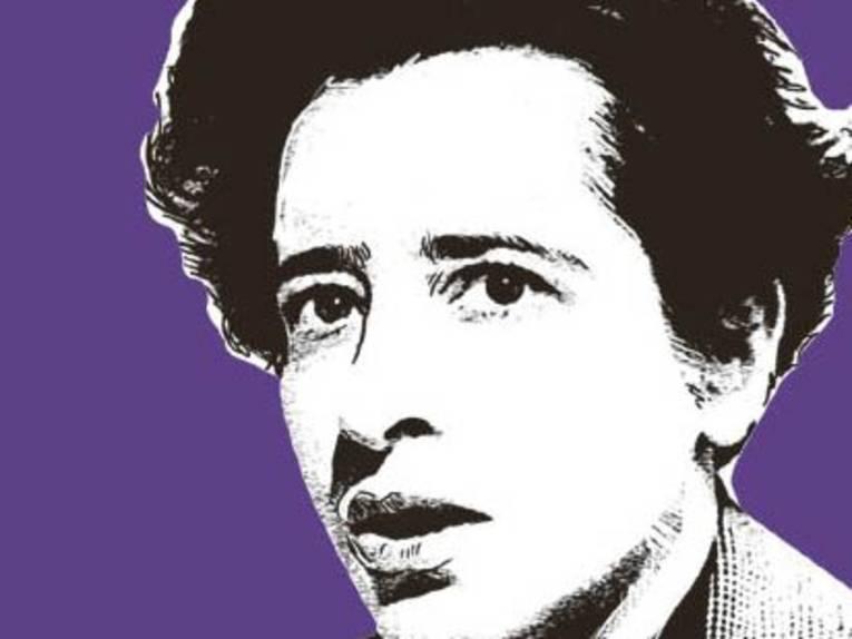 Visualisierung von Hannah Arendt auf violettem Grund.