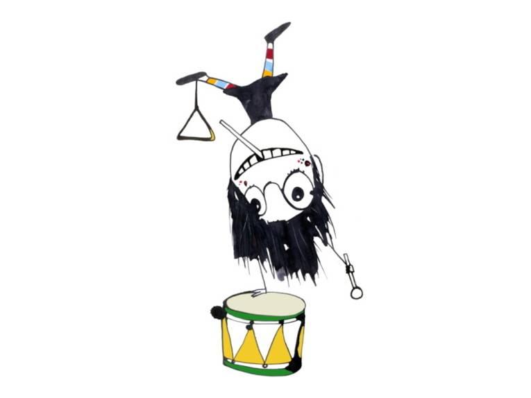 Das gezeichnete Kind Henri-Jette macht einen Kopfstand auf einer Trommel