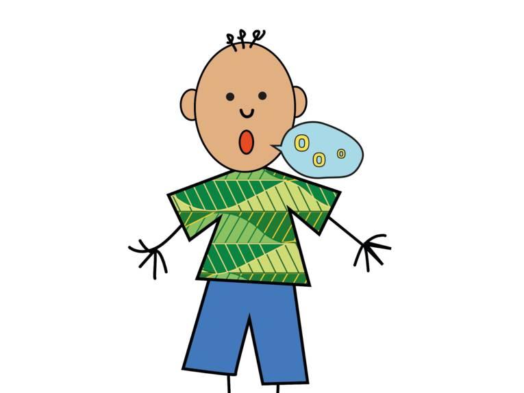 Zeichnung: Ein Junge spricht, in der Sprechblase sind kreisförmige Symbole.