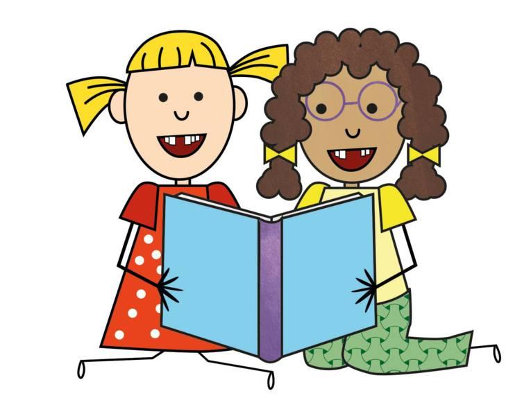 Zeichnung: Zwei Mädchen schauen gemeinsam in ein aufgeschlagenes Buch