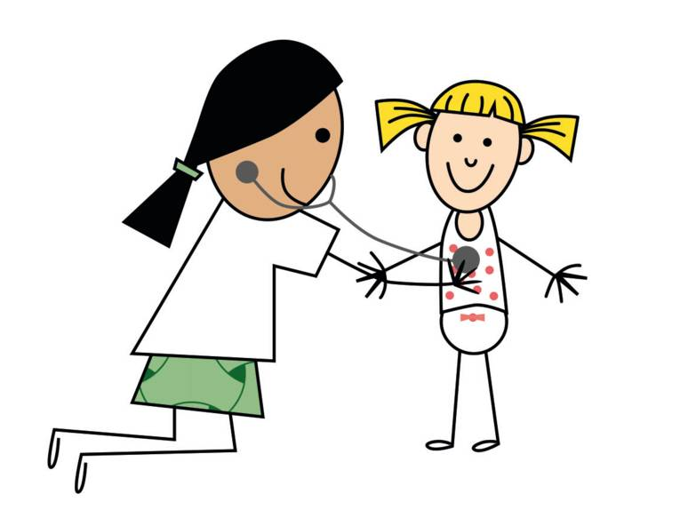 Zeichnung: Eine Frau horcht ein Mädchen mit einem Stethoskop ab.