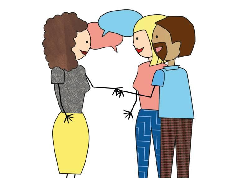 Zeichnung: Eine Frau reicht einem Elternpaar die Hand, Sprechblasen verdeutlichen, dass die Personen miteinander sprechen.