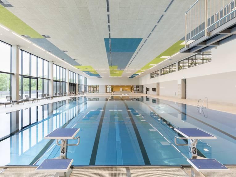 Schwimmbecken mit Startblöcken