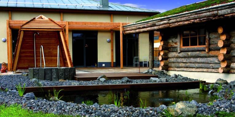 Teich, Tauchbecken, Dusche,ein Holzbohlenhaus, Terrasse