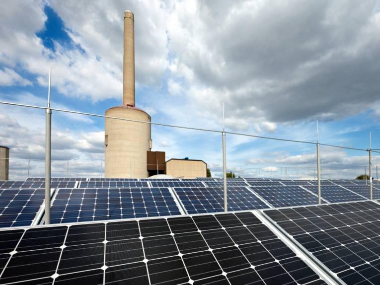 Der Blick geht über eine Solaranlage, dahinter erhebt sich der Schornstein eines Kraftwerks.