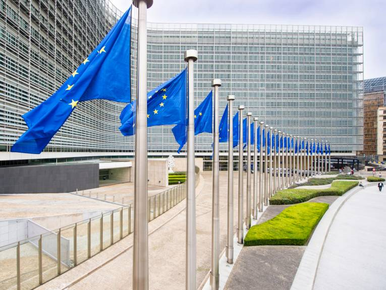 European flags fluttering in front of the Berlaymont building