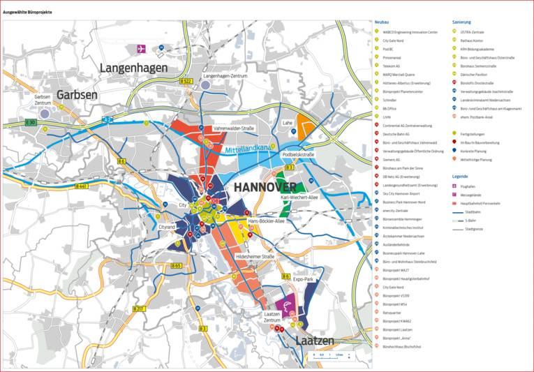 Karte Ausgewählte Büroimmobilienprojekte