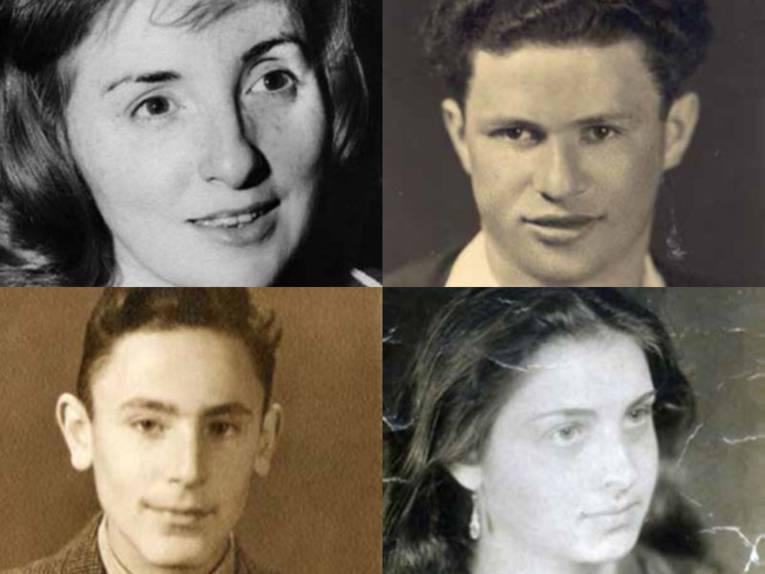 Vier alte Portraitaufnahme (schwarz-weiß) von zwei Frauen und zwei Männern.
