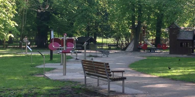 Mehrere Fitnessgeräte, ein Spielplatz und eine Parkbank im Grünen.