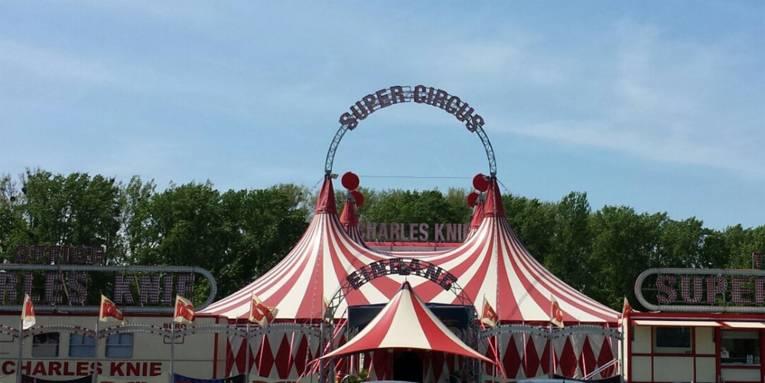 Ein weiß-rotes Zirkuszelt mit überdachtem Eingangsbereich.