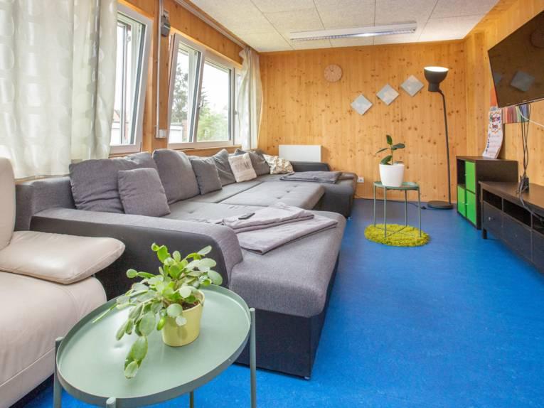 Wohnzimmer mit großem Sofa, Fernseher und Zimmerpflanze.