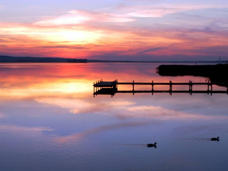 Ein Steg ragt dunkel ins Steinhuder Meer. Der Himmel leuchtet im Sonnenuntergang in verschiedenen Rottönen.