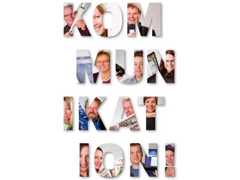 Das Wort Kommunikation. Die Buchstaben sind mit Bildern von Personen ausgefüllt!