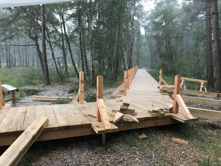 Holzsteg, Sägespänne, Holzabschnitte
