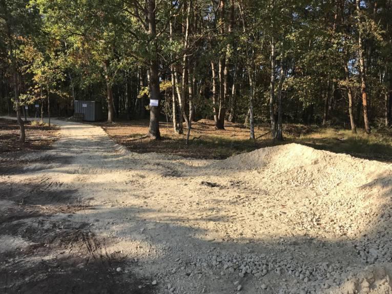 Ein Sandweg durch ein Waldstück