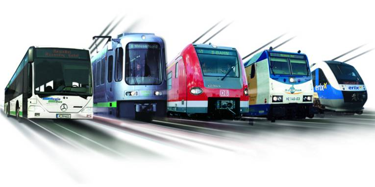 Fotomontage von 4 Schienenfahrzeugen und einem Bus