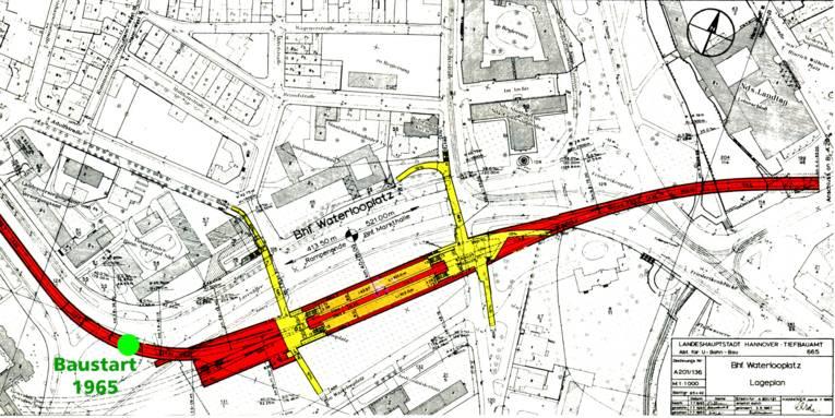 Der Plan rund um den Waterlooplatz aus dem Jahr 1965