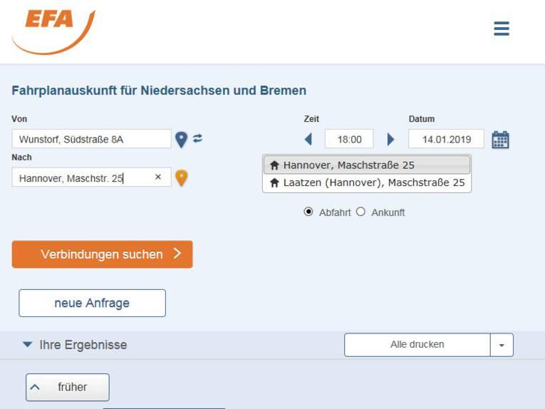 Webseite mit Adresseingabefeld