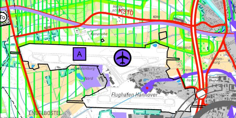 Kartenausschnitt Flughafen Hannover