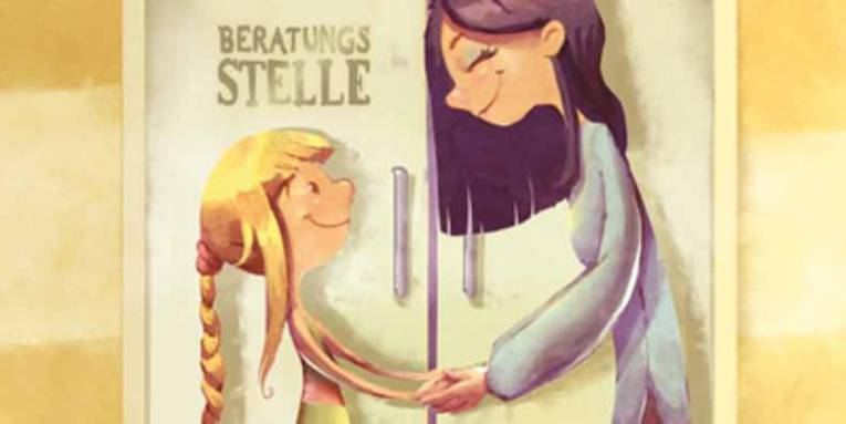"""Zeichnung einer Frau, die einem kleinen Mädchen die Hände reicht und dabei lächelt. Beide stehen vor einer Tür mit der Beschriftung """"Beratungsstelle""""."""