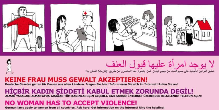 Gezeichnete Situationen häuslicher Gewalt und Lösungsmöglichkeiten