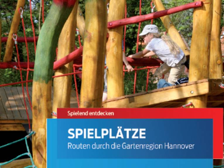 """Ausschnitt aus dem Titelbild der Broschüre """"Spielplätze - Routen durch die Gartenregion""""."""