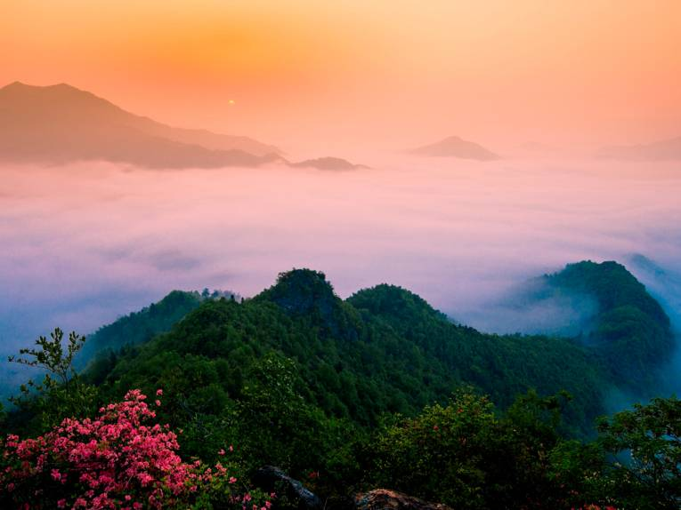 Landschaft mit Bergkette und Nebel.