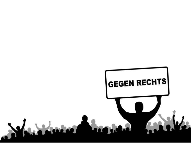 """Schwarzweiß-Grafik mit einer Menschemnege. Im Vordergrund hält eine Mensch ein Plakat mit der Aufschrift """"GEGEN RECHTS"""" hoch."""