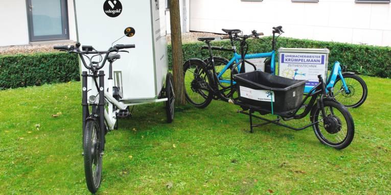Drei Lastenfahrräder mit unterschiedlichen Aufbauten stehen unter einem Baum auf einer Rasenfläche.