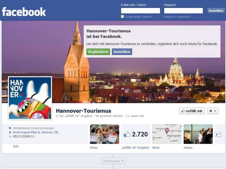 Hannover Tourismus bei Facebook.