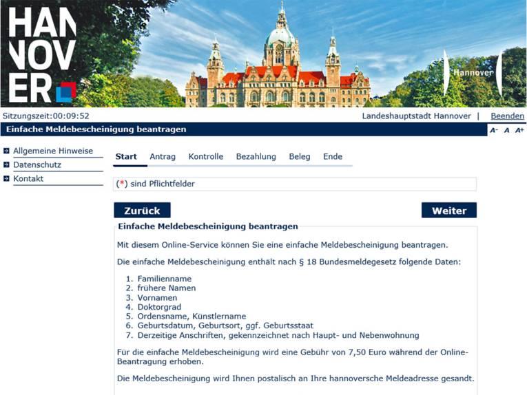 """Startbildschirm der Onlineanwendung """"Einfache Meldebescheinigung beantragen"""" der Landeshauptstadt Hannover"""