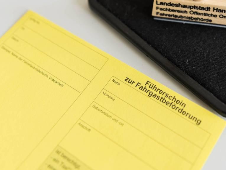 Foto eines Führerscheins zur Fahrgastbeförderung