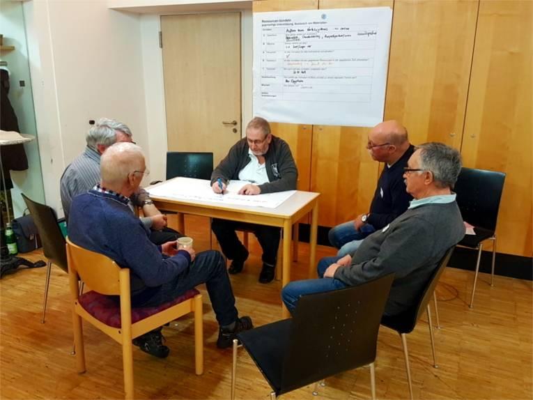 Teilnehmer*innen erarbeiten ein Verleihsystem für den Stadtbezirk.