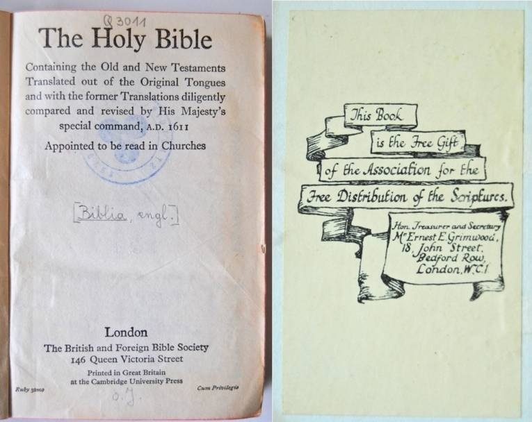 Association for the free Distribution of the Scriptures Exlibris