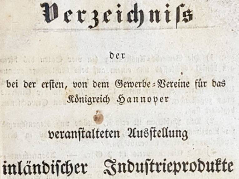 Verzeichnis der bei der ersten, von dem Gewerbe-Vereine für das Königreich Hannover veranstalteten Ausstellung inländischer Industrieprodukte