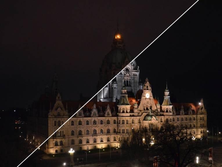 Rathaus in den Abendstunden, einmal mit Beleuchtung und einmal ohne.