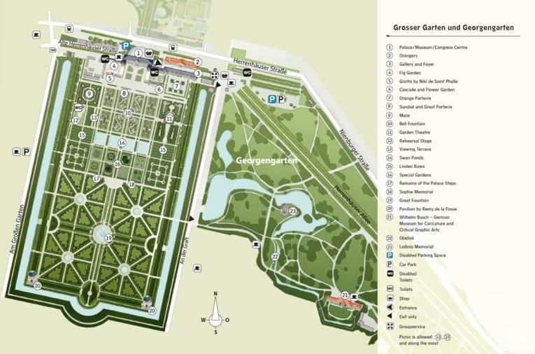 General map of Grosser Garten and Georgengarten
